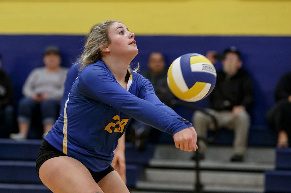 Victoria Logodicio dealt eight assists and delivered seven aces to lead the Wilcox Tech volleyball team to a 3-0 sweep of O'Brien Tech on Wednesday in Meriden. | Justin Weekes / Special to the Record-Journal