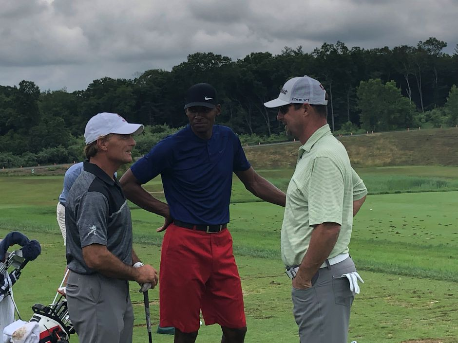 From left, Former NFL quarterback Doug Flutie, NBA Hall of Famer Ray Allen and former MLB pitcher Tim Wakefield speak before Wednesday