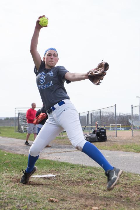 After splitting time in the circle last year, Kara Zazzaro will be the ace this spring for Southington. Zazzaro and the Blue Knights will be looking to regain some status after seeing their run of three straight state championships and a 76-game winning streak end last year. | Justin Weekes, Special to the Record-Journal