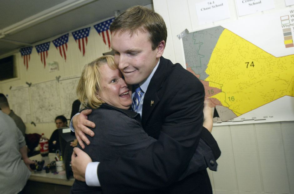 State Senator Chris Murphy receives a congratatory hug from mother Cathy Murphy of Wethersfield after hearing unofficial news of his re-election of his second term as State Senator at Waterbury election headquarters on Tuesday Nov,2,2004.