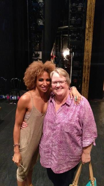 "CRHS alumna Lana Gordon (left), currently playing Velma Kelly in ""Chicago,"" greets former teacher Lisa Larsen. 