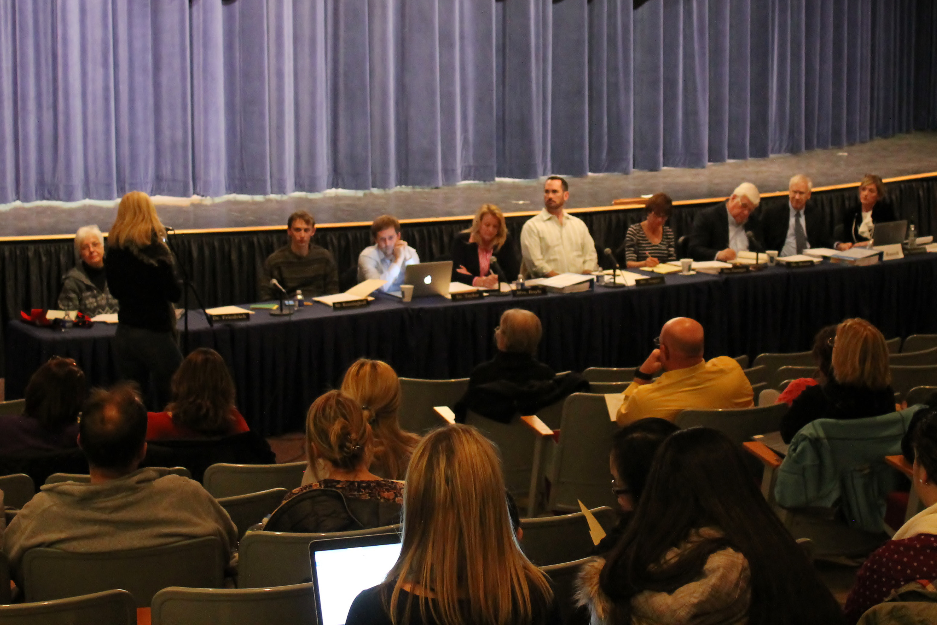 The D13 Board of Education (seated) is in the midst of their budget meetings. Due to public interest, the Feb. 22 meeting was moved to the CRHS auditorium. The next BOE meeting will be on March 8. (Mark Dionne/Town Times)