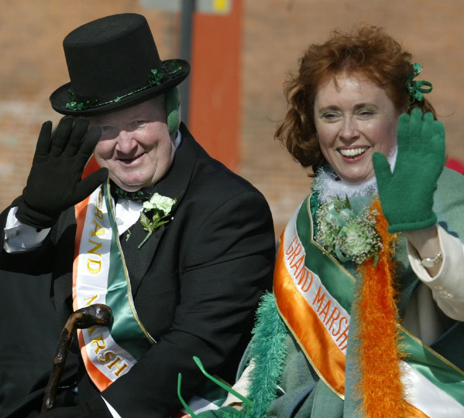 Ed and Mary Cortwright wave to the crowd at this years Grand Marshalls for the St. Patrick