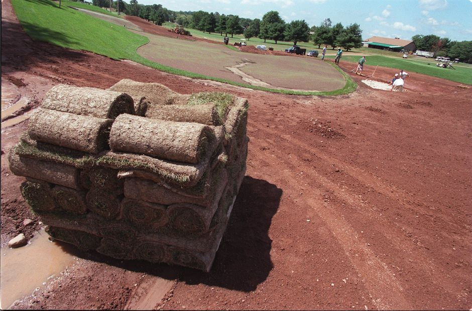 RJ file photo - Sod awaits placement on the new 9th hole at Harbor Ridge in Wallingford, Aug. 1998.