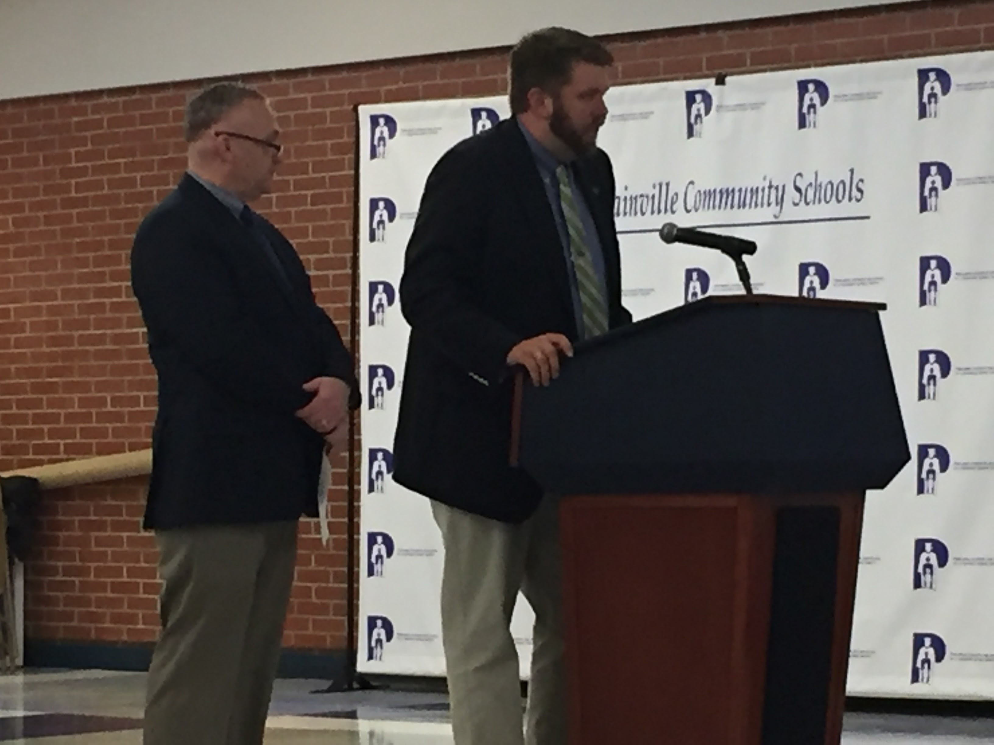 Assistant principals Jonathan Coe and Carl Johnson present a new high school bell schedule to the Plainville Board of Education, Monday, Feb. 13. |Ashley Kus, The Plainville Citizen