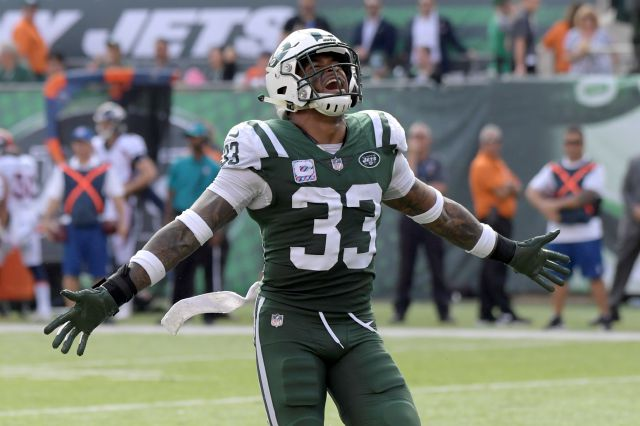 FILE - In this Sunday, Oct. 7, 2018 file photo, New York Jets strong safety Jamal Adams (33) celebrates during the second half of an NFL football game against the Denver Broncos in East Rutherford, N.J. amal Adams was still trying to process everything two days later. The New York Jets playmaking safety absolutely can