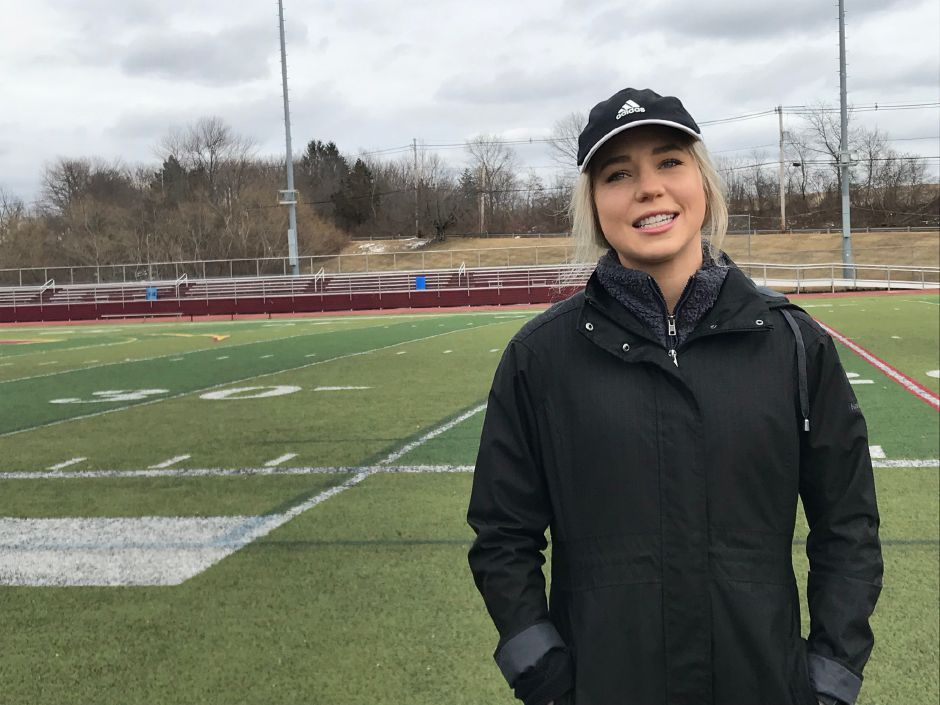 Kristen Dearborn gives tips for training for a 5K or half marathon road race this spring. Sheehan High School track, Wallingford. Friday, March 1, 2019. | Ashley Kus, Record-Journal