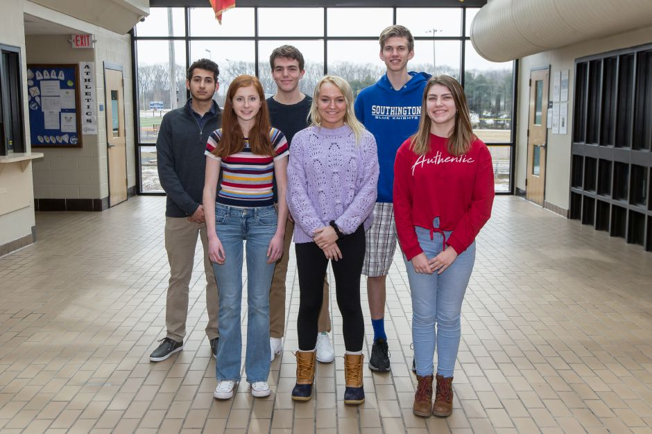 Here are Southington's Record-Journal Scholar-Athletes for the 2018-19 winter season. The girls in front, from left, are Kate Kemnitz, Kristin Longley and Mychele Vaillancourt. The boys in back, from left, are Kian Siadat, Joe Verderame and Adam Hunter.