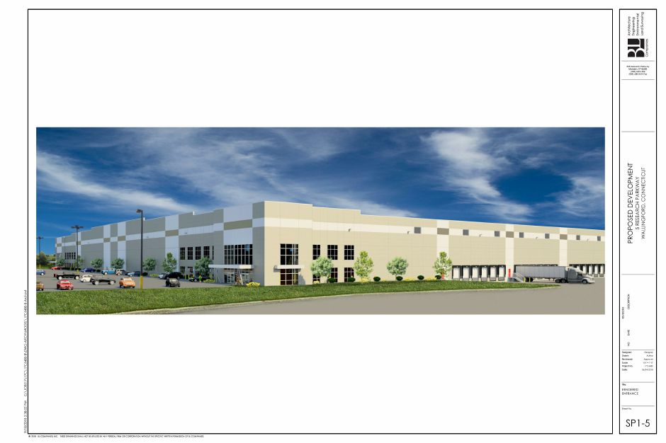 Renderings of one of two warehouses proposed for the former Bristol-Myers Squibb property in Wallingford, as presented on Oct. 10, 2018. | Courtesy of BL Companies