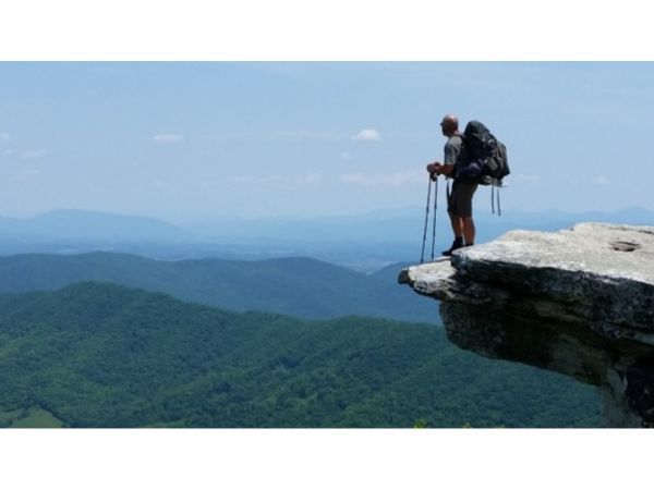 Sam Ducharme, who trekked the Appalachian Trail, told of his adventures at Durham Public Library.