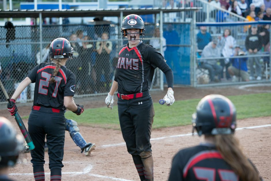Emma Watkinson and the Cheshire softball team will have to wait a day to (potentially) celebrate in West Haven. Their SCC championship game with North Haven has been postponed from Thursday night to Friday at 6 p.m. | Justin Weekes / Special to the Record-Journal