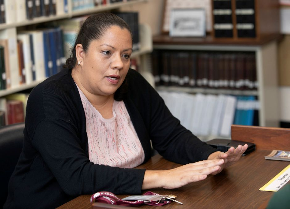 Johanna Roman, a bilingual tutor at Maloney High School, talks about leaving her home of Arecibo, Puerto Rico, due to Hurricane Maria. Dave Zajac, Record-Journal