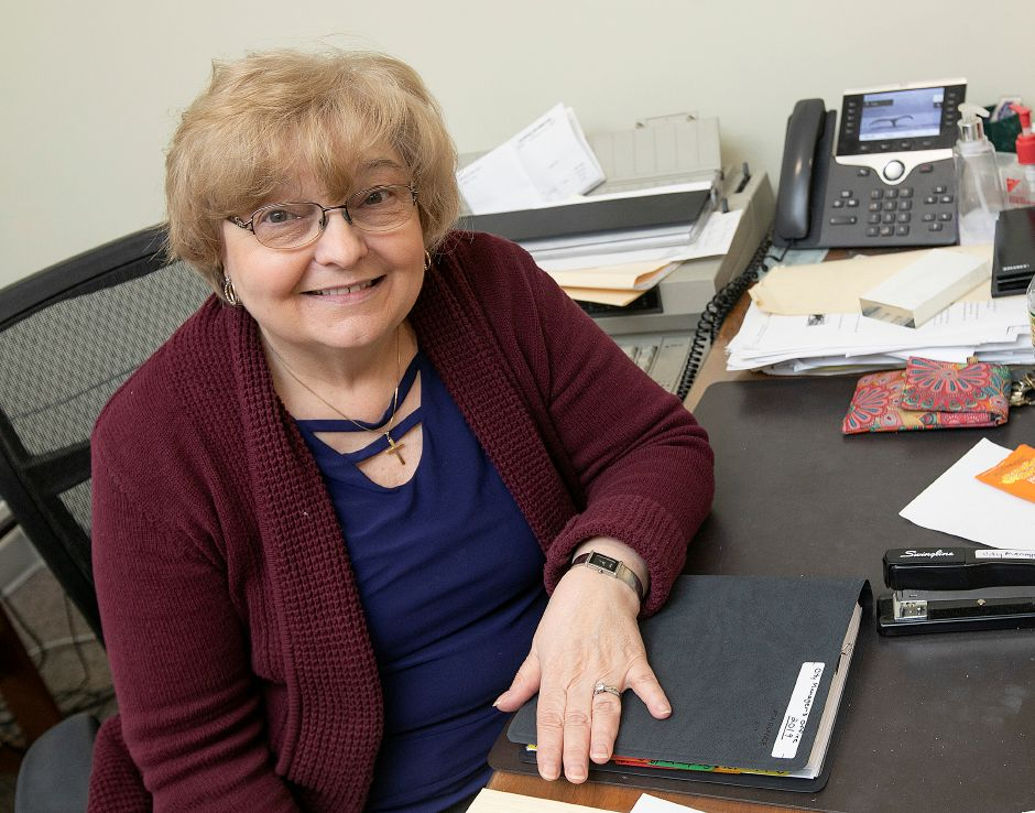 City Manager Administrative Assistant Carol Neckermann at her desk at Meriden City Hall Thurs., Jan. 17, 2019. Neckermann is retiring after 47 years of service. Dave Zajac, Record-Journal