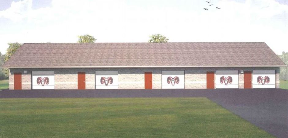 A rendering of the new Cheshire High School storage building.