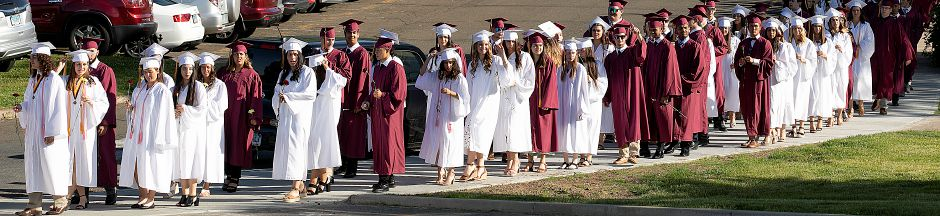 Graduates walk in procession to graduation ceremonies at Sheehan High School, Wed., June 12, 2019. Dave Zajac, Record-Journal