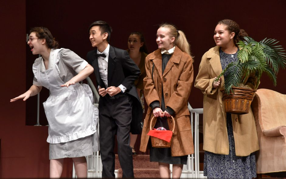 "Maloney High School theater students rehearse ""The Man Who Came to Dinner"" on Monday night. The play opens this weekend, Thursday through Saturday. 