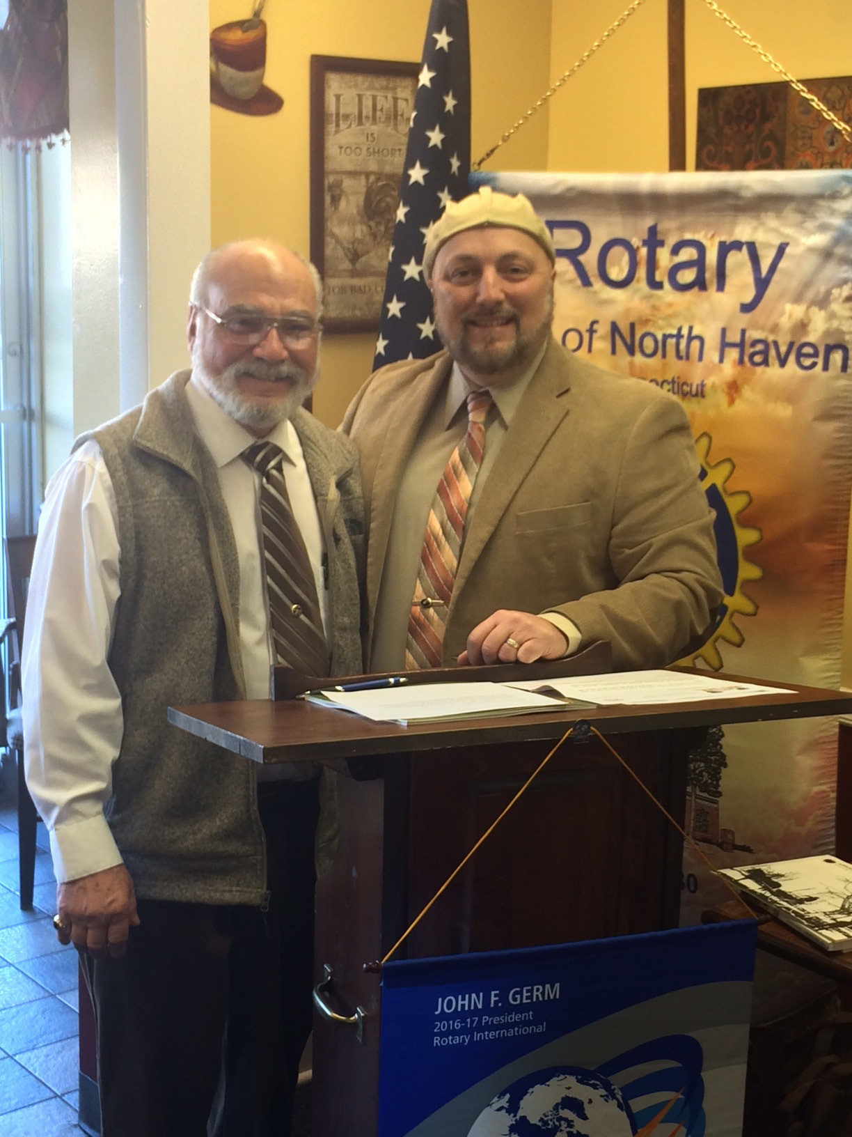 The roots of our towns can be traced back to ecclesiastical entities, according to Nick Iannone of the North Haven Historical Society during his recent speech before the North Haven Rotary Club. For instance, the North Haven Town Green dates back to 1714 and Reverend James Pierpont, who willed 8-to-10 acres of his land to neighbors provided that they set their meeting house and make their training and burial places there. Iannone, left, is pictured with North Haven Rotary Club President Mark Minotti.