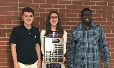 Plainville High School award-winners, from left, Nicholas Costantini, Natalie Michaud and Corey Nickson.