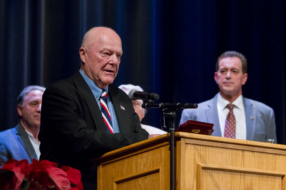 Councilor Len Rich speaks about retiring from public service Monday during an Inauguration Ceremony at the Platt High School Theater in Meriden December 4, 2017 | Justin Weekes / For the Record-Journal