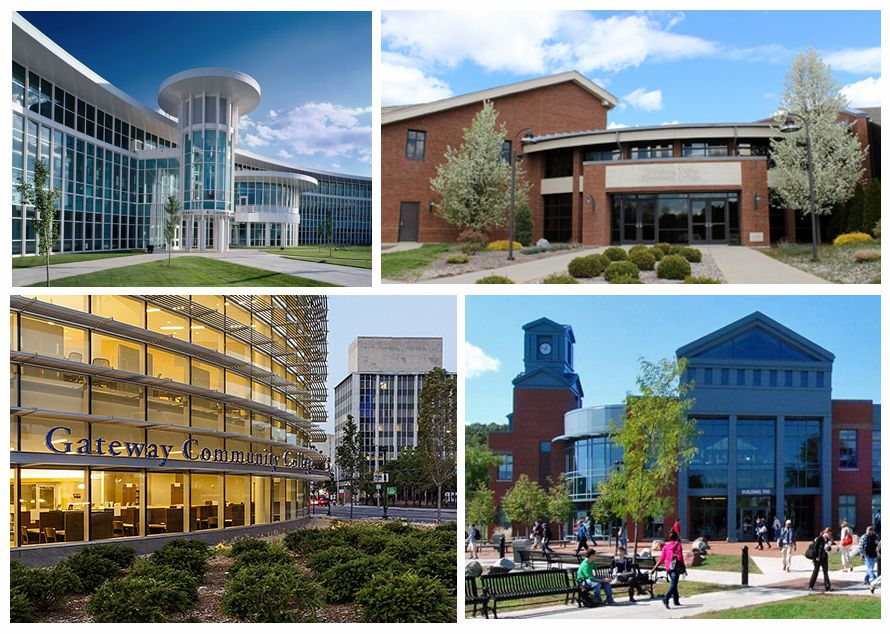 Four of the state's 12 community colleges: Manchester Community College, top left; Gateway Community College, bottom left; Quinebaug Valley Community College, top right; and Tunxis Community College.