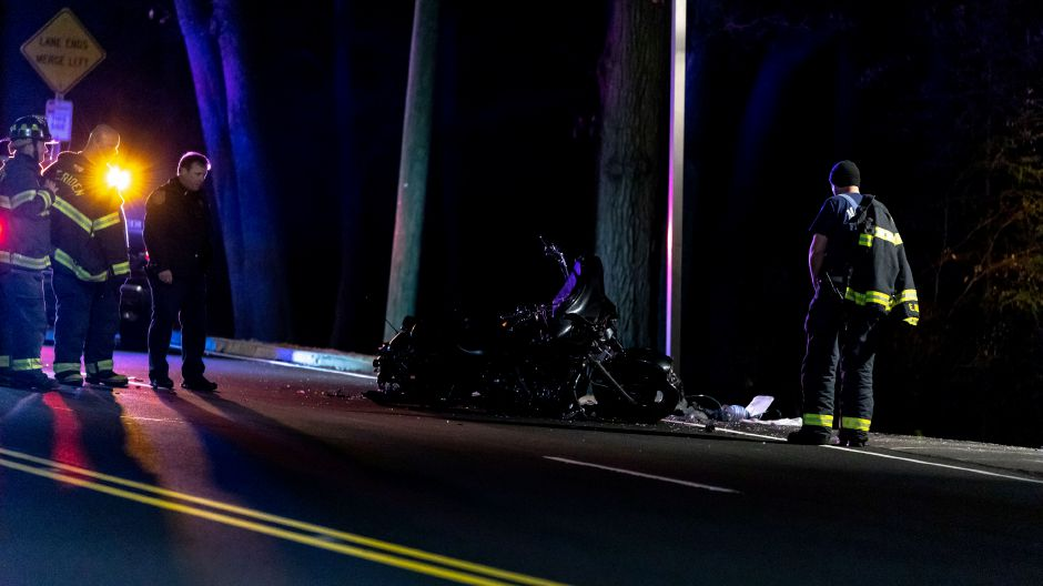 A portion of West Main Street in Meriden was closed Sunday night afer a crash involving a motorcycle shortly after 5 p.m. The road remained closed between Notch Road and Mirror Lake Drive past 6:30. | Devin Leith-Yessian/Record-Journal