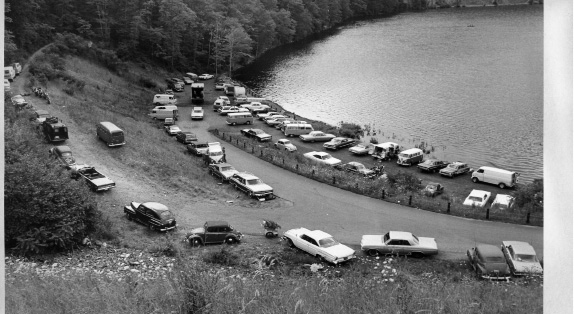 Powder Ridge Rock Festival, 1970. Concert-goers parked at Black Pond in Meriden.