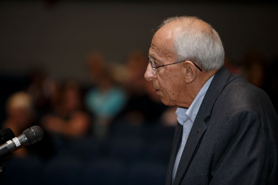 Meriden resident Fred Cavallo speaks Thursday during a public hearing with the Meriden Finance Committee to speak about the tax increase at Lincoln Middle School in Meriden August 9, 2018 | Justin Weekes / Special to the Record-Journal