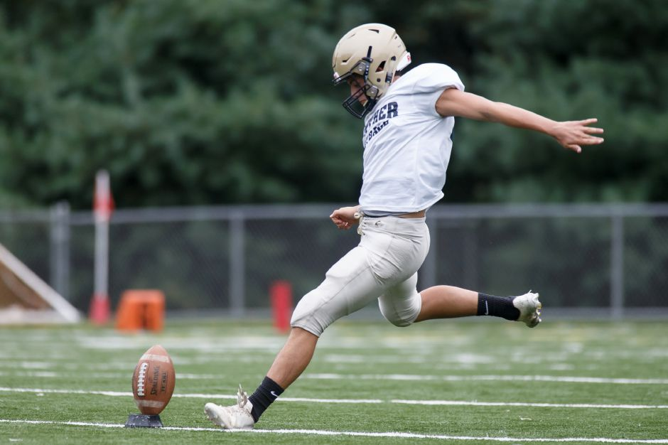 Joey Salafia kicks off Friday during Platt's preseason scrimmage with Simsbury at Falcon Field. | Justin Weekes / Special to the Record-Journal