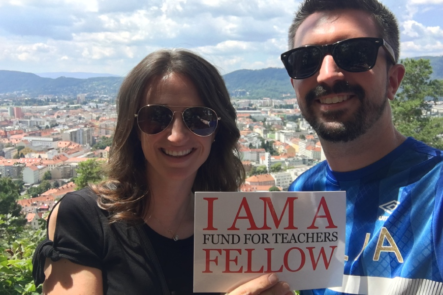 Teachers Deborah Banas and Chad Carillo pose at the top of the Schlossburg in Graz, Austria. The Schlossburg is the defensive heart of the city, attacked by Napoléon in 1809. Courtesy of Deborah Banas and Chad Cardillo