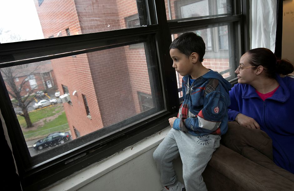 at the Mills Memorial Apartment complex in downtwon Meriden, Thursday, April 6, 2017. | Dave Zajac, Record-Journal