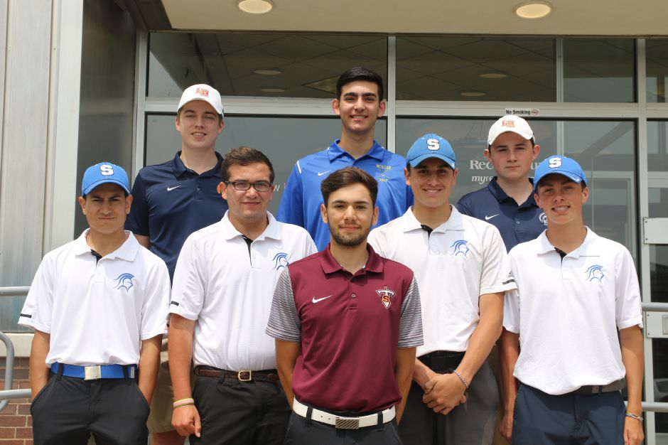 Introducing the 2019 All-Record-Journal Golf Team. Dead center in the fairway, in maroon, is Sheehan's Julian Nirmal. He is flanked, left to right, by Southington teammates Austin Carta, Shawn McKnerney, Jake Napoli and Max Chubet. In the back row, Wilcox Tech's Ryan Pellegrino stands between Lyman Hall teammates Owen Twohill (left) and Dan Doherty (right). Not pictured is Cheshire's Justin Grove.  Spencer Davis, Record-Journal