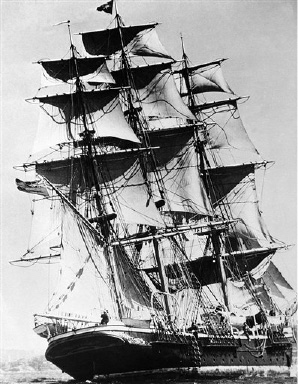 "This majestic Windjammer, the Joseph Conrad, is now taking part in a race with the ""Seven Seas"" from Newport, Rhode Island,  to Bermuda, on Sept. 1, 1937. (AP Photo)"