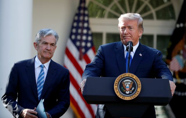 "FILE - In this Nov. 2, 2017, file photo President Donald Trump announces Federal Reserve board member Jerome Powell as his nominee for the next chair of the Federal Reserve in the Rose Garden of the White House in Washington. Trump is keeping up his attacks on Federal Reserve Chairman Powell, saying he ""made"" Powell but now would like to trade him in for Mario Draghi, the head of the European Central Bank. (AP Photo/Alex Brandon, File)"