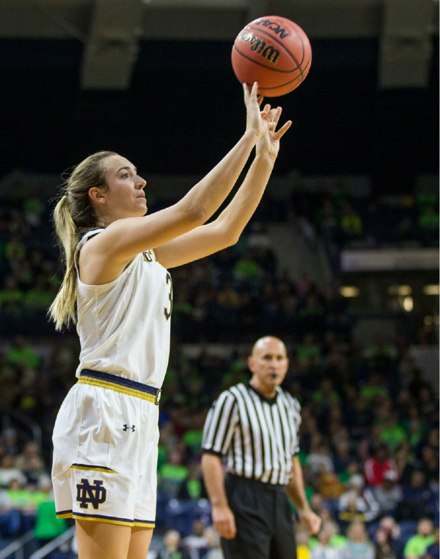 Notre Dames Marina Mabrey (3) shoots a 3-pointer during the first half of an NCAA college basketball game Sunday, Dec. 4, 2016, in South Bend, Ind. (AP Photo/Robert Franklin)
