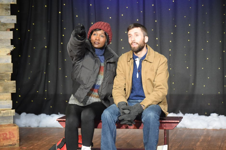 "Kathy Wade and Jamie Reopell rehearse for the Castle Craig Players latest production, ""Almost, Maine,"" on Thursday. The play opened Friday and runs through Nov. 17 in Meriden."