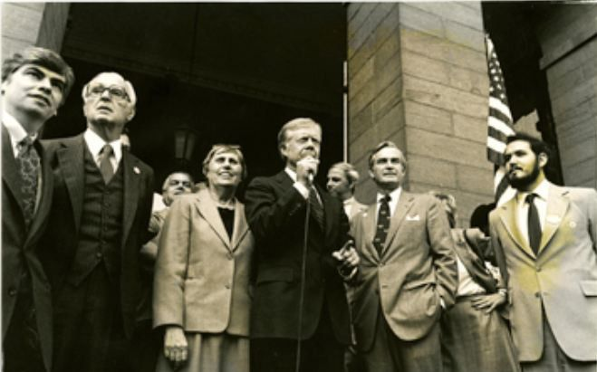 Governor Ella Grasso with Christopher Dodd, Abraham Ribicoff, Jimmy Carter and Wilson Wilde, ca. 1975-1980, photograph by Charles William Eldridge – Connecticut Historical Society
