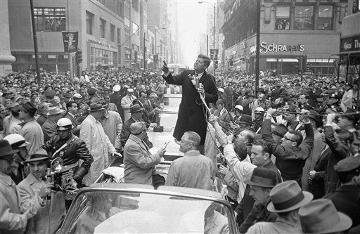 Senator John F. Kennedy, democratic presidential candidate, speaking before a noon day crowd in front of the Philadelphia Citizens for Kennedy Headquarters on Oct. 31, 1960 in Philadelphia, PA.      Kennedy is making a tour of the center, south and south-west of the city in a bid for the 32 electoral votes of Pennsylvania. (AP Photo)