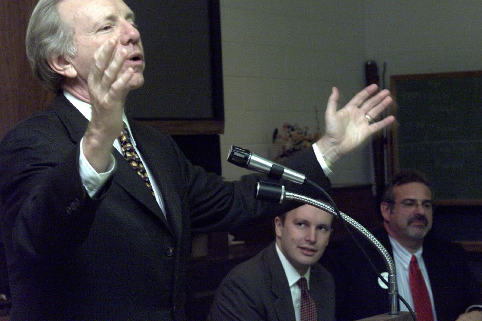 Senator Joseph Lieberman speaks to seniors at the Calendar House in Southington on Wednesday afternoon October 30, 2002. Lieberman was in Southignton on behalf of State Representative Chris Murphy and Bruce Zalaski, both of whom are on the ballot for state representative.