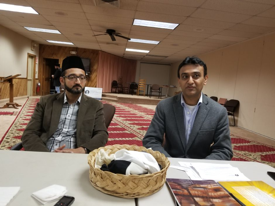 FILE PHOTO – Ahmadiyya Muslim Community of Connecticut Imam Salman Thariq, left, and spokesman Wajid Ahmed Wednesday respond to a terrorist attack in New York City and calls for tougher immigration standards. Ahmed, speaking at the group