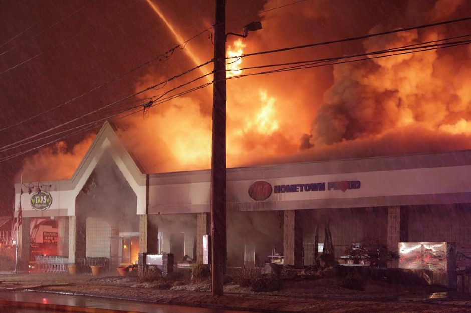 Firefighters battle a fire at Tops Supermarket in Southington March 3, 2019. | Courtesy of Matt Van Ness