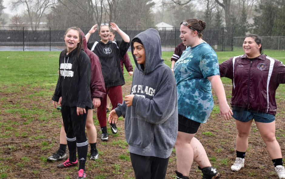 The North Haven Girls Rugby team practices at the athletic complex on April 22, 2019. Their next game is May 2, 4:30 p.m. at the athletic complex. | Bailey Wright, North Haven Citizen