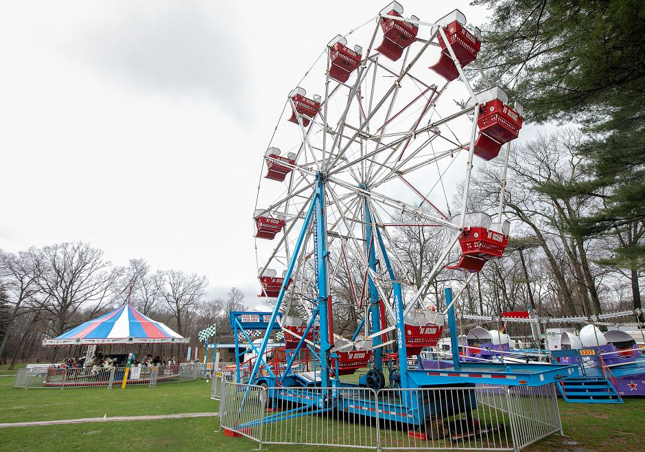 Amusement rides set up for the 41st annual Daffodil Festival at Hubbard Park in Meriden, Mon., Apr. 15, 2019. The festival takes place April 27 and 28. Dave Zajac, Record-Journal
