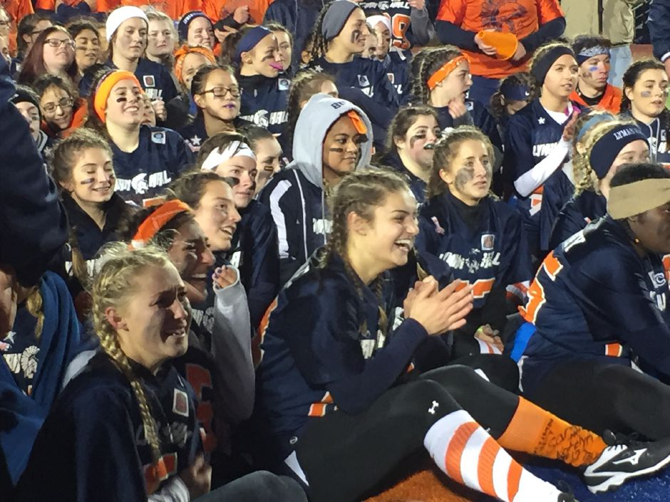 Lyman Hall powder puff players after winning the 46th annual Samaha Bowl at Fitzgerald Field at Lyman Hall on Wednesday. | Bailey Wright, Record-Journal