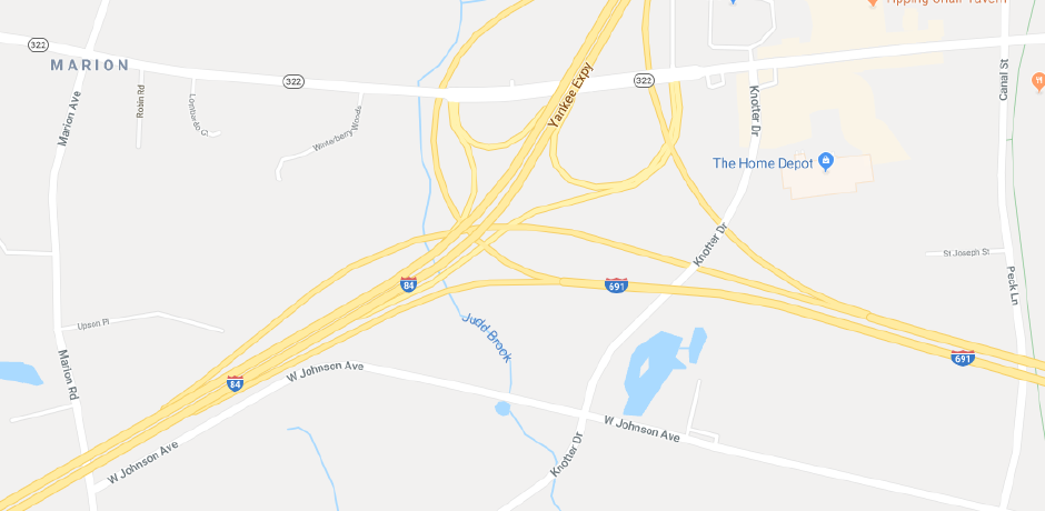 Emergency crews are responding to a single vehicle crash on Interstate 84 in Southington | Image courtesy of Google