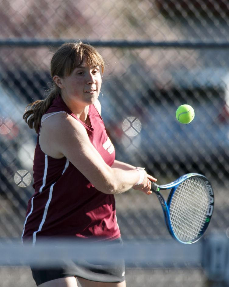 Sheehan No. 1 singles player Justine Hoover advanced to third round of the CIAC State Open with a pair of victories Sunday at Conard High School. | Justin Weekes / Special to the Record-Journal