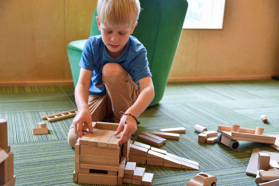 Clayton Schroth, 7, of Middletown, plays in block room at Kidcity on Tuesday, May 22, 2018. The children