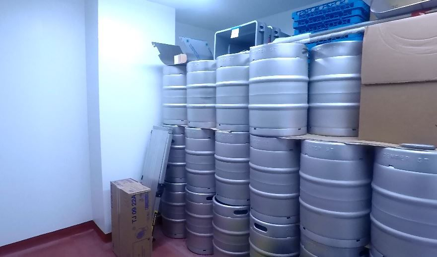 Keg cooler at Center Street Brewing Company, 25 Wallace Ave., Wallingford. |Ashley Kus, Record-Journal