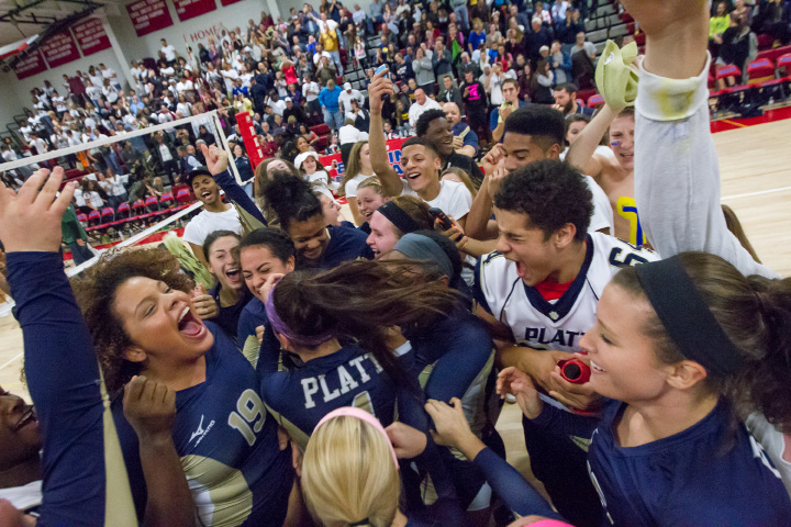 Platt celebrates with the student section after beating RHAM 3-1 Saturday during the class L state final at Berlin High School in Berlin Nov. 21, 2015 | Justin Weekes / For the Record-Journal