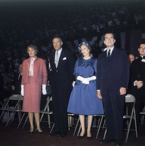 Richard Nixon, with wife and Mr. and Mrs. Henry Cabot Lodge, Jr. during rally at Cincinnati, Ohio, Oct. 25, 1960. (AP Photo)