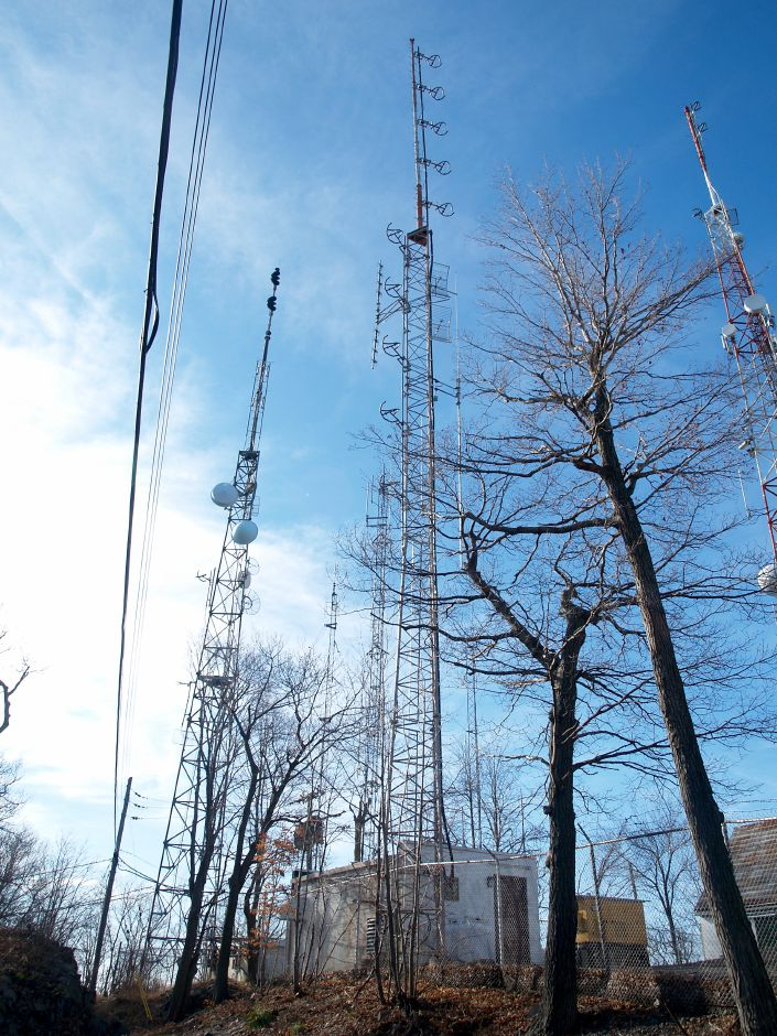 An up-close look at the radio towers top West Peak in Meriden, November 25, 2011. (Richie Rathsack/Record-Journal)